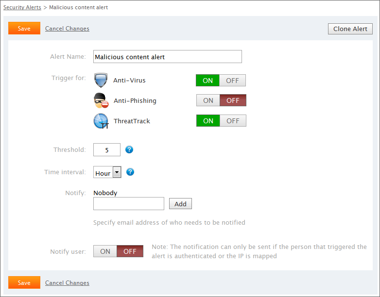 Screenshot 65: Configuring Security alerts 3. In the Alert Name filed, key in a name. 4.