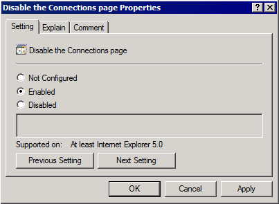 Screenshot 78: Group Policy Management Editor window 7. Expand User Configuration > Policies > Administrative Templates > Windows Components > Internet Explorer and click Internet Control Panel. 8.