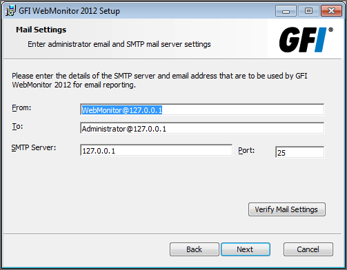 Screenshot 4: Installation: Mail Settings 7. [Optional] Provide SMTP mail server details and an email address to which administrator notifications will be sent.