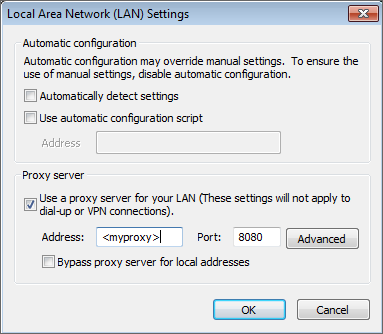 2. From the Tools menu, choose Internet Options and select the Connections tab. 3. Click LAN settings. Screenshot 7: LAN Settings dialog 4. Check Use a proxy server for your LAN checkbox. 5.
