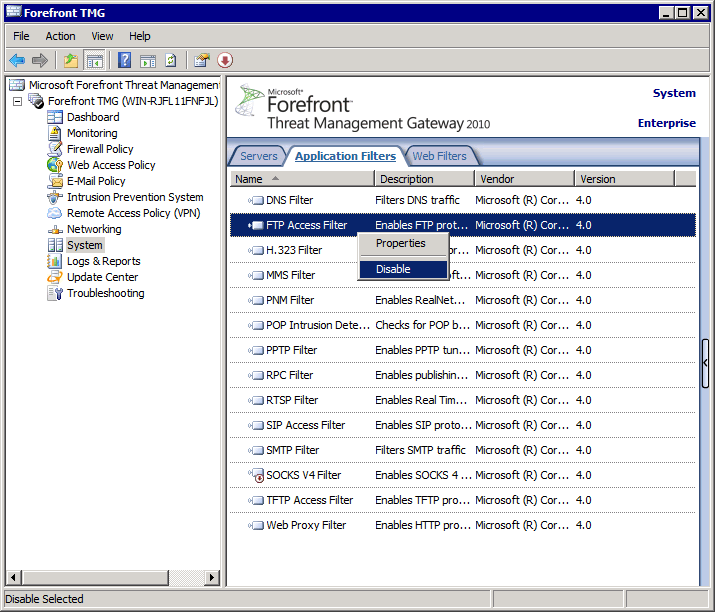 Screenshot 13: Microsoft Forefront TMG: Configured Application filters 2. From the left panel, expand Forefront TMG <machine name> > System 3. From the right panel, click Application Filters tab. 4.