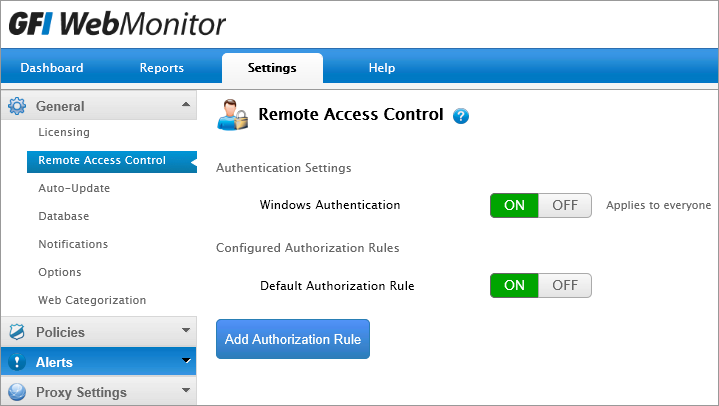 Screenshot 41: Configuring Access Control 2. Next to Windows Authentication, click ON or OFF.