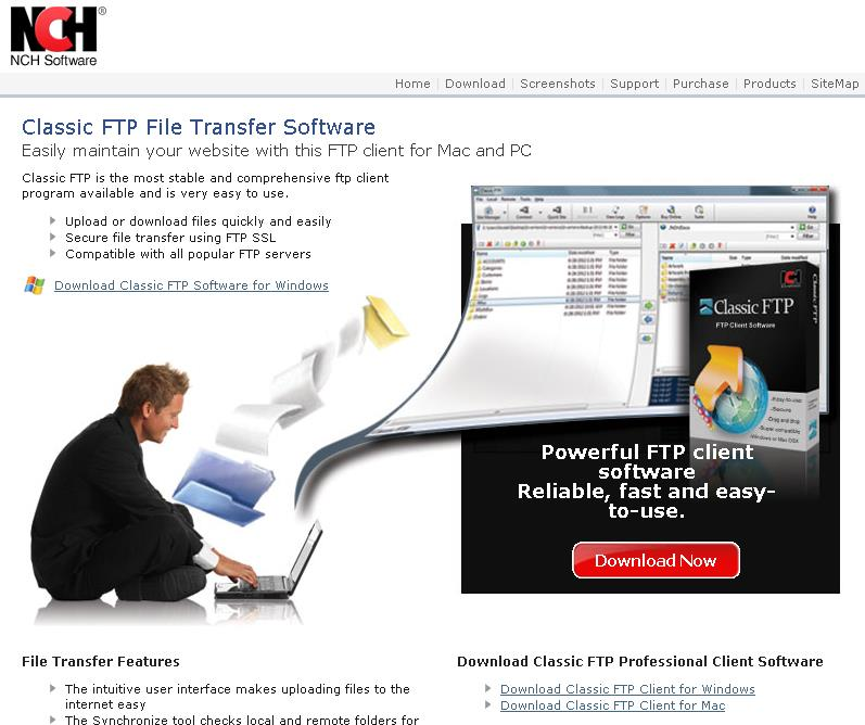 Installing and configuring ftp for GroupWise archive on a mac Open a browser and go to the following link http://www.nchsoftware.com/classic/i ndex.