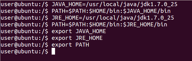 To check whether JAVA got installed or not use following command: java -version Run the following commands to set JAVA_HOME and PATH: JAVA_HOME=/usr/local/java/jdk1.7.