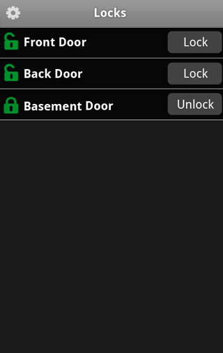 Door Locks Door Locks When you tap Locks on the tab bar, the Door Locks screen appears.