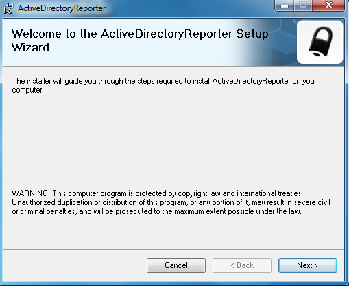 Installing from the Web After registration of the ActiveDirectoryReporter trial version, an email will be sent with the link to download ActiveDirectoryReporterr.msi To install from the website: 1.