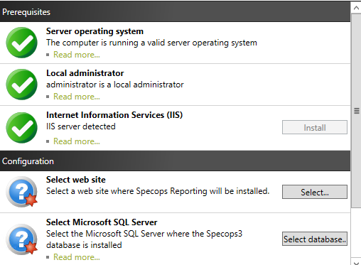 Installing Specops Reporting Specops Reporting will install the web application used to create reports of the data contained in the Specops Deploy / Endpoint Protection feedback database.