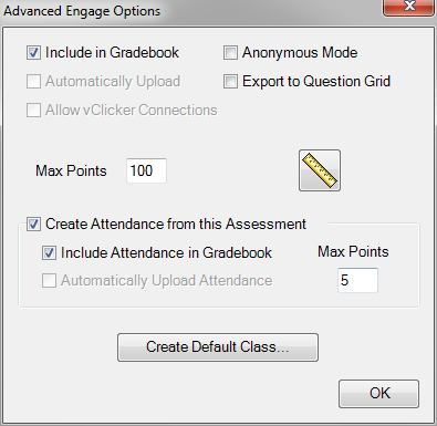 CPS for PC 58 4 Optionally, select from the following: Include in Gradebook Automatically Upload Anonymous Mode Export to Question Grid Max Points Dynamic Standards Performance data from this session