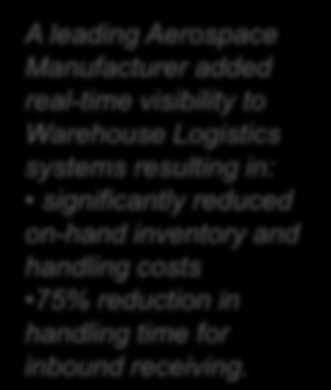 Real-time Enabling Supply Chain & Logistics Systems Enterprise Resource Planning (ERP) Systems Service and Asset Management Systems Warehouse Management Systems (WMS) Business Activity Monitoring