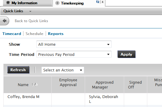 5. To continue approving all employees at once after you have reviewed their timecards go to Select an Action and Select All and then click Apply.