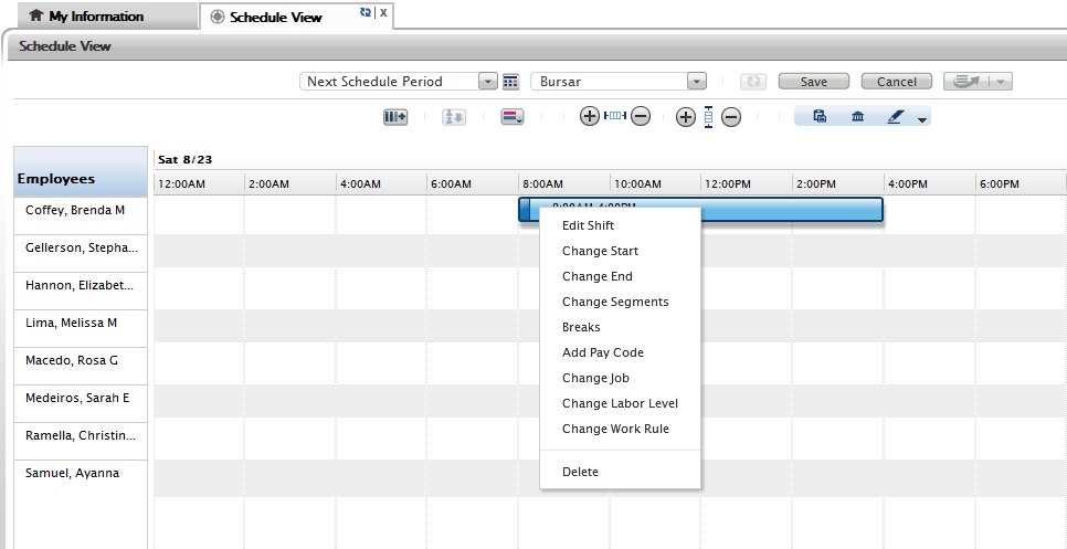 4. To modify a current shift you can click on the schedule