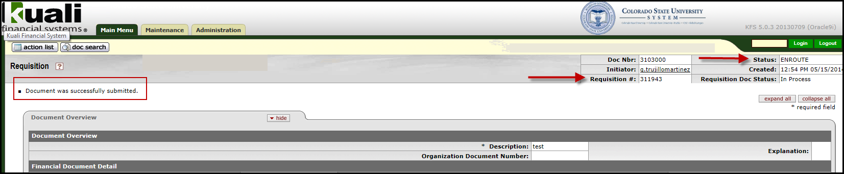 When requisition is complete, click the submit button to start the workflow approval process for your document.