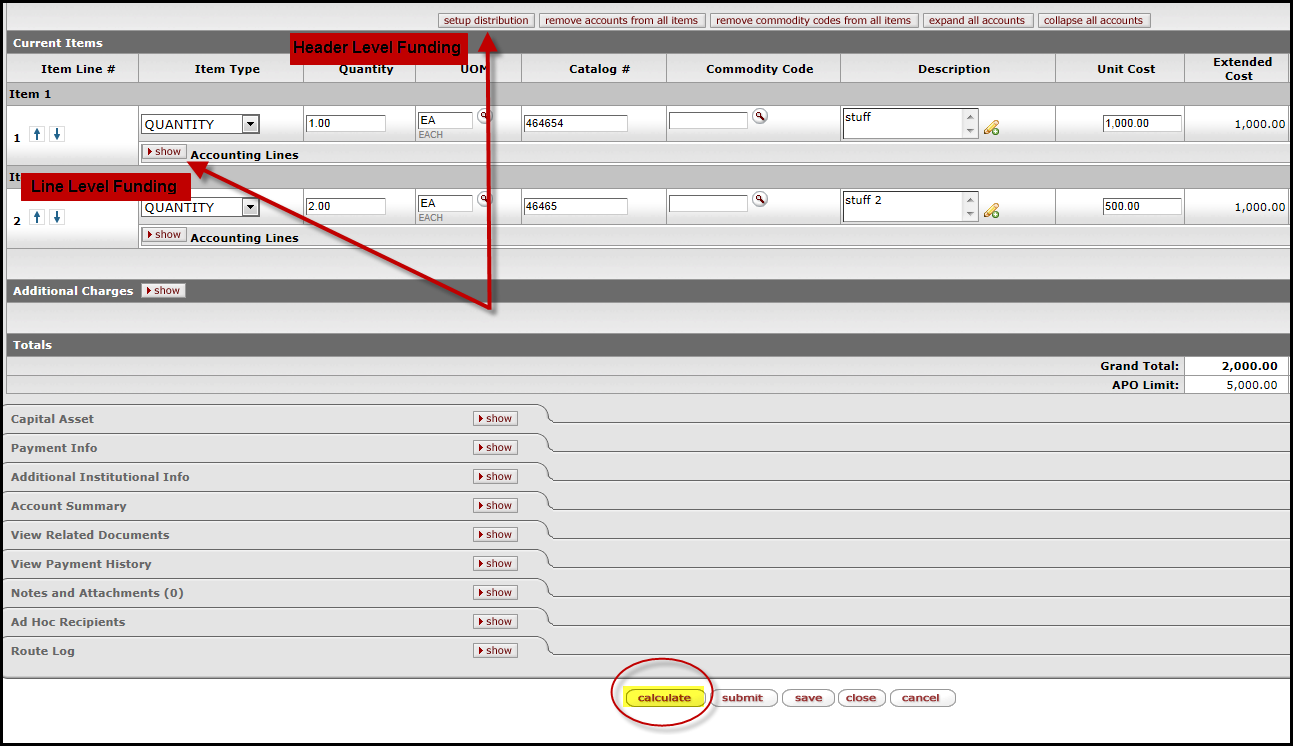 When the add button is clicked, the requisition line is saved and an Add Item box opens for Line 2 above Line 1.