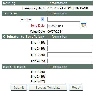 3. Fill in the beneficiary bank ABA or click the search button and enter the name or part of the ABA. Once located double click on the bank and it will bring you back to the entry screen.