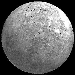 icy Mercury s appearance is similar to the Moon, with impact craters and smooth plains, no natural satellites and a non substantial atmosphere.