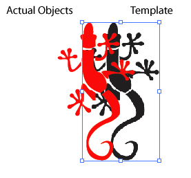 23. To prepare for exporting the vector lizard, you need to remove the template lizard. To do this, click on the whitespace in the proximity of the lizard shapes until a blue selection box shows.