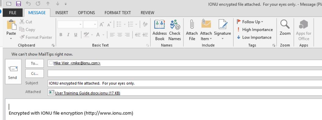 Simply right click on ANY file (regardless if it is in the IONU File System or not), scroll over IONU and select Share
