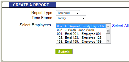 Filter by Employee - the Timecard Report allows you to run a report for one specific employee, or ALL employees.