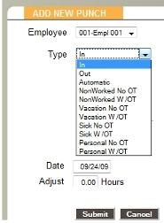 Using Accrued Benefit Hours To enter accrued benefit hours on an employee's timecard, first open up the Timecard Report and click on the Add Punch link.