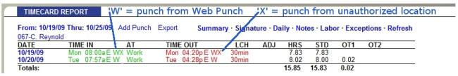 Running Reports with the Web Punch Time Clock To make it simple to identify punches coming from a Web browser, punches coming from the Web Punch Time Clock are flagged with a W after the punch time.