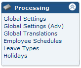 THE PROCESSING MENU The options under the Processing Menu can be used to refine the processing of hours.