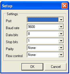 Press Com Settings to select a COM port and set the communication protocol to: Port Baud Rate 9600 Data bits 8 Stop Bits 1 Parity Flow Control Free Com port or USB adaptor port e.g. COM2 None None Press OK when done.