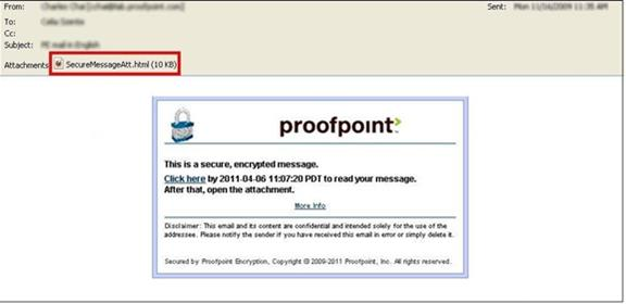 1 Reading a Secure Message When you receive a secure message, it will look similar to this in your mailbox: Click