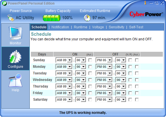 Schedule Screen To schedule a shutdown use the OFF column. Select the shutdown time from the appropriate weekday, and place a checkmark in the Act box. To schedule a turn-on use the ON column.
