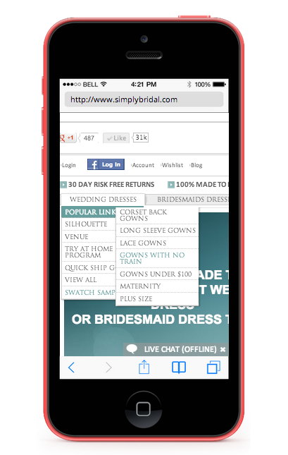MOBILE-OPTIMIZED WEBSITE (AKA RESPONSIVE) A single website at one URL changes shape when viewed