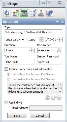 As an option you can enter a Session Password for your session, Conference Call Information can be typed in when you select the custom option, and it is possible to send yourself and the participants