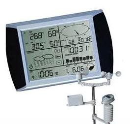 The weather center comes with an easy to set-up outdoor solar sensor suite, which includes mounting brackets and poles.