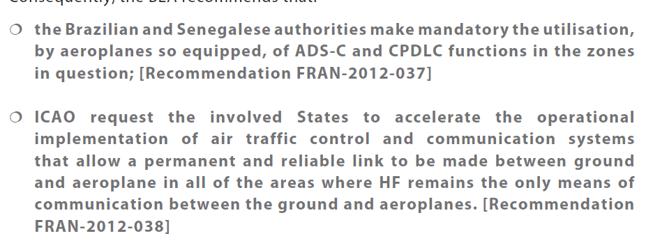 The Safety Recommendation from Final report for AF 447