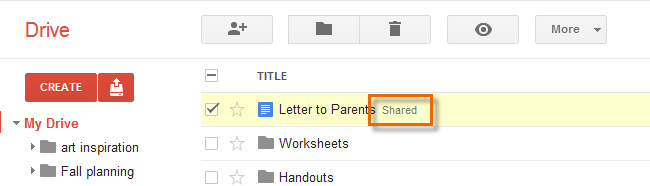 15 Whenever you share a file, that file will be marked as Shared on your Google Drive.