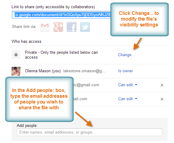 24 3. Share Button Hover over the Share button to see a description on the file's current visibility settings.