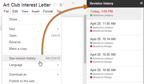 26 5. Revision History Click File and then Select See revision history to view older versions of the file.