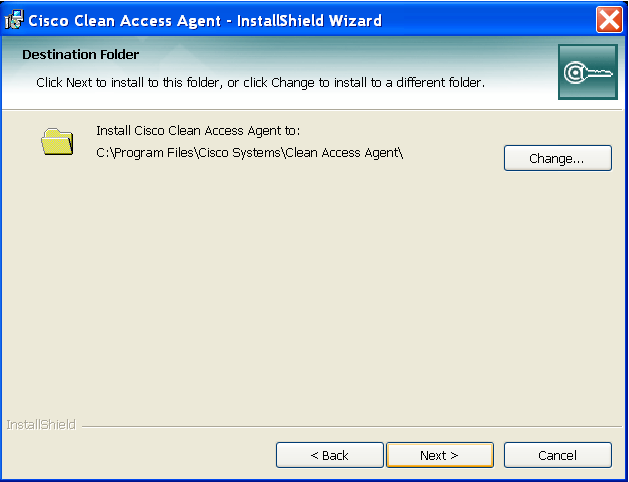 4. Click the Next button, on the Cisco Clean Access Agent Install Wizard