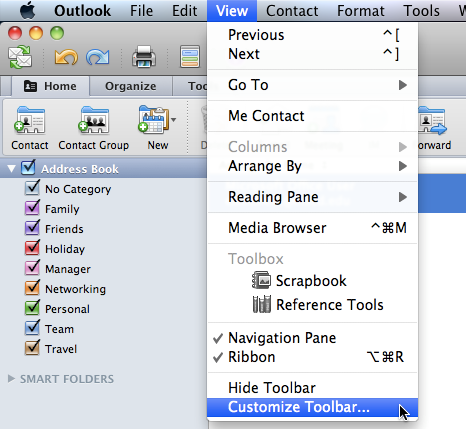From the Menu Bar, go to View menu click Hide Toolbar Customize the Toolbar From the Menu Bar, click
