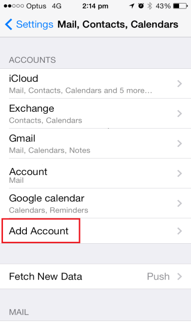3. Under the Accounts section, select Add