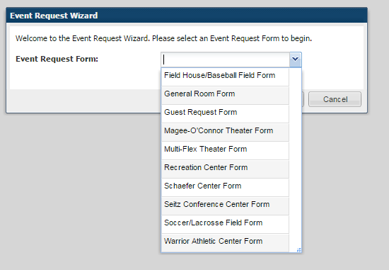 This will bring you to the form selection screen. Step 4: Selecting the right form After selecting Event Request you will be taken to a new page with a drop down box with request forms.