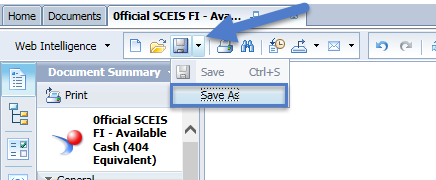 1. Select the drop-down arrow next to the Save icon. 2. Select the location to save the report.