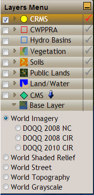 Other Layers Base Layers DOQQ radio buttons add the selected DOQQ layer