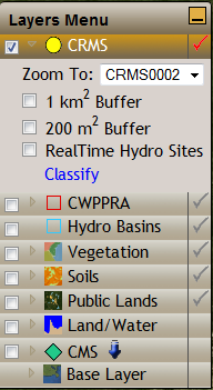 CRMS Active Layer Zoom to function zooms to the site and shows the information bubble for it. 1 Km Buffer checkbox adds/removes the 1 Km Buffer layer to the map.