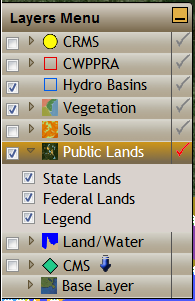 Public Lands Active Layer State Lands checkbox adds/removes LA Department of Wildlife and
