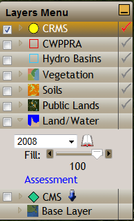 Other Layers Land/Water Year selector changes the Land/Water layer s year.