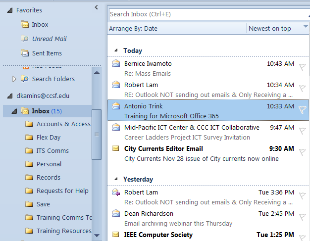 Save Emails Create Folders to Store Your Emails: 1. Right-mouse click on your inbox. Right-mouse click on Inbox 2. Click on New Folder 3. Give your new folder a name and click OK. 4.