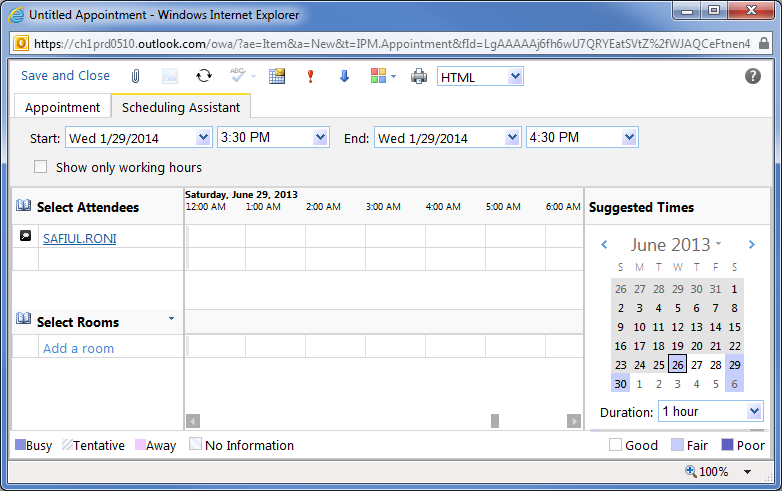 To invite others to a meeting, click the Scheduling Assistant tab. Enter the recipient s name under your own.