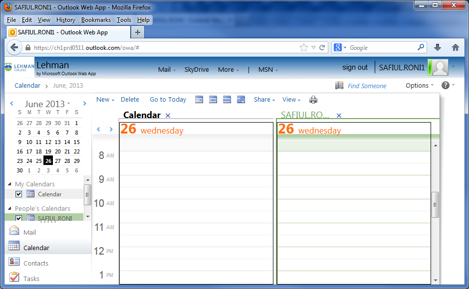 Notice when viewing more than one Calendar at a time, the Calendars are displayed in side by side mode: Figure 6: Two calendars opened in side by side mode Getting Help This guide provides basic
