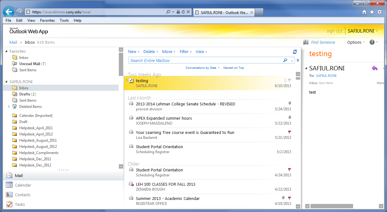 Navigation Pane View Pane Reading Pane Feature Differences Most of the features found in the full Outlook desktop email client are also found in Outlook Web App (OWA).