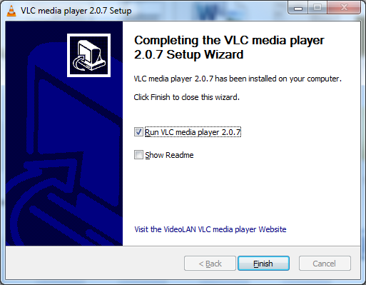 5. You will see the program installing followed by the installation completed screen. At this screen, make sure Run VLC Media Player is ticked and then click finish.