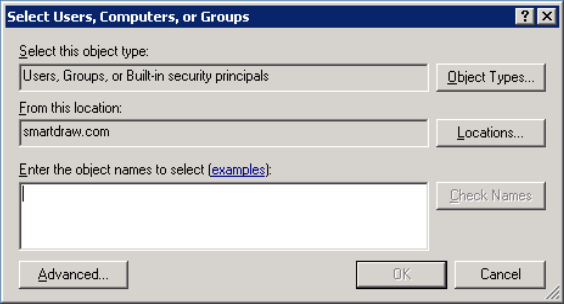 In the Permissions Dialog, click on Add to selectively add permissions to the folder. Under Normal Server configurations, you can give access to users, groups, or built-in security principles.
